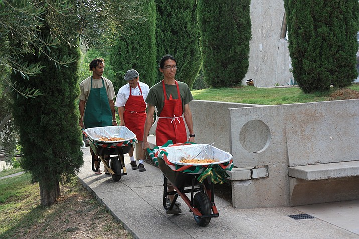 Pasta is traditionally served in wheelbarrows at Arcosanti's Italian Night. This year's event is set for July 8.