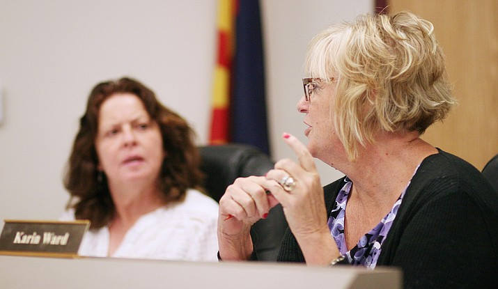 Last month, Beaver Creek School District Superintendent Karin Ward suggested that the governing board allow her to become a part-time employee of the district as a way of making budget cuts for fiscal year 2017-2018. Monday, the governing board will look at restructuring Ward's contract before its scheduled public hearing and possible approval of the fiscal year 2017-2018 budget. (Photo by Bill Helm)
