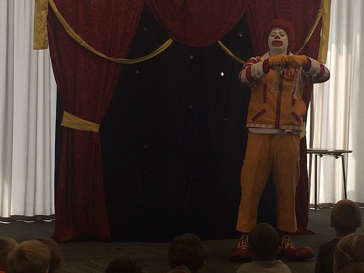 Ronald McDonald was on hand at the Prescott Valley Public Library to teach kids about being leaders and building a better world.