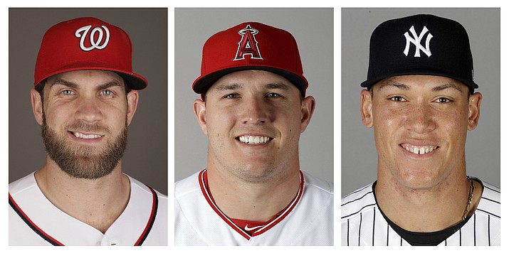 Bryce Harper, Mike Trout and Aaron Judge are hoping to connect with fans this week at the All-Star game in Miami, Fla. (AP)