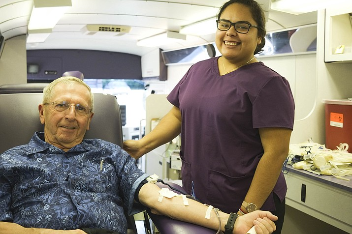 Bernie Hiemenz donates blood at St. Joseph Catholic Church July 6. The church sponsored a Williams Community Blood Drive at the mobile  donation center. The next blood drives take place Sept. 23 at North County Health Care in Williams and Nov. 13 at Williams High School.