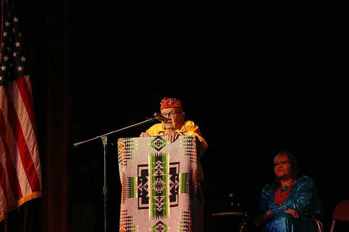 Addressing the audience, Navajo Code Talker Samuel Sandoval spoke about the teachings of his grandfather. Submitted photo