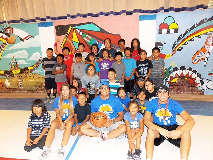 Basketball coaches from the Pawnee Nation help coach and mentor students in offense, defense and daily skills regimens at Hotevilla Bacavi Community School. Rosanda Suetopka/NHO