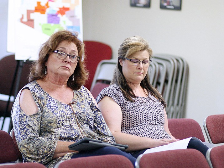 From left, Mingus Union High School District board members Anita Glazar and Lori Drake, at Valley Academy of Career and Technical Education. Monday, the V'ACTE governing board approved an Intergovernmental Agreement with Mingus Union, Camp Verde Unified and Sedona Oak Creek school districts with wording that differs from an agreement that representatives from each of the four districts structured in late June. (Photo by Bill Helm)