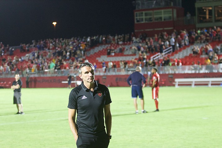 Patrice Carteron looks on after leading Phoenix Rising FC to a 2-1 win over Vancouver Whitecaps FC 2 in his Rising debut on June 10.