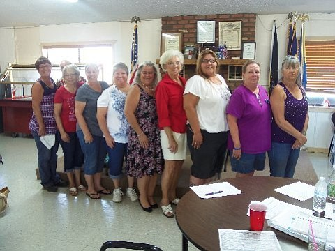 President Cheryl Myers, Vice President Vicky Legat, Sec./Treas. Patti Hartfiel, Sgt. at Arms Marie Hosner, Chaplain/Historian Marlene Barrington, Members at Large-Cindy Abbott, Sharron Harlow and Dee Adey with past president Sue King Sanders. District 8 Auxiliary President Patty Eames from Cornville presided over the swearing in.