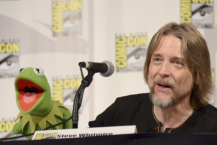 "Kermit the Frog and puppeteer Steve Whitmire attend ""The Muppets"" panel during a 2015 Comic-Con International in San Diego. After 27 years, Whitmire will no longer be performing the famous frog's character. (Photo by Tonya Wise/Invision/AP, File)"