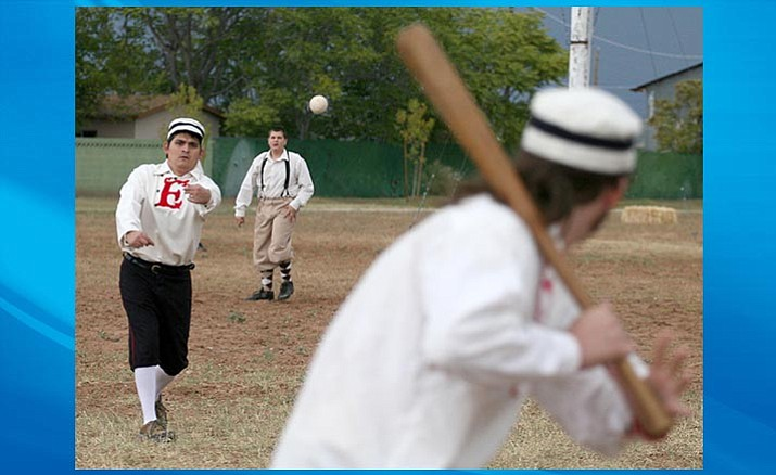 Josh Freeman of the Fort Verde Excelsiors pitches. On Saturday the Excelsiors will host the Prescott Champions in a Vintage Base Ball game at Fort Verde at 10 a.m. (Photo by Bill Helm)
