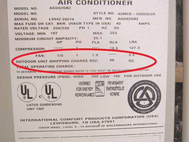 The label on columnist West's compressor shows refrigerant type and amount required, 98 ounces.