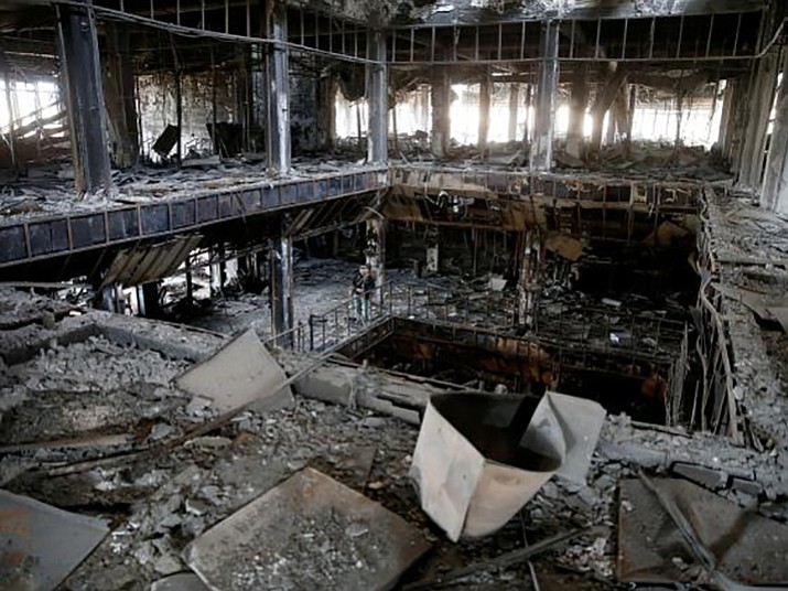 The bombed-out library in Mosul, Iraq. A book drive organized by Embry-Riddle Aeronautical University students designed to help rebuild the library in Iraq yielded several thousand books. (ERAU/Courtesy)