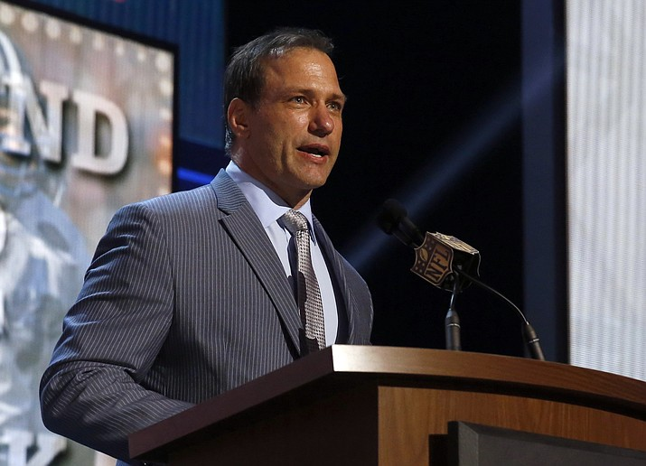 In this May 1, 2015, file photo, Chris Spielman speaks at the 2015 NFL Football Draft, in Chicago. (Charles Rex Arbogast/AP, File)