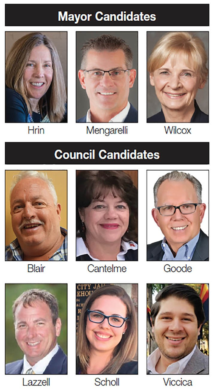 Mayor candidates, top from left: Mary Beth Hrin, Greg Mengarelli, and Jean Wilcox. Council candidates, middle row from left: Steve Blair, Connie Cantelme, and Phil Goode. Council candidates, bottom row from left: Greg Lazzell, Alexa Scholl, and Joe Viccica.