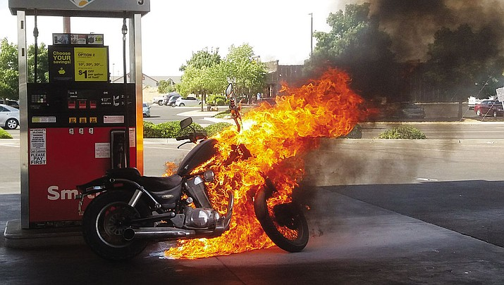 A motorcycle caught fire at the Smith's gas station. No serious injuries were reported.