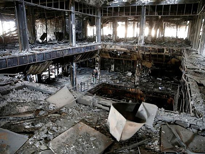 The bombed-out library in Mosul, Iraq. A book drive organized by Embry-Riddle Aeronautical University students designed to help rebuild the library in Iraq yielded several thousand books.