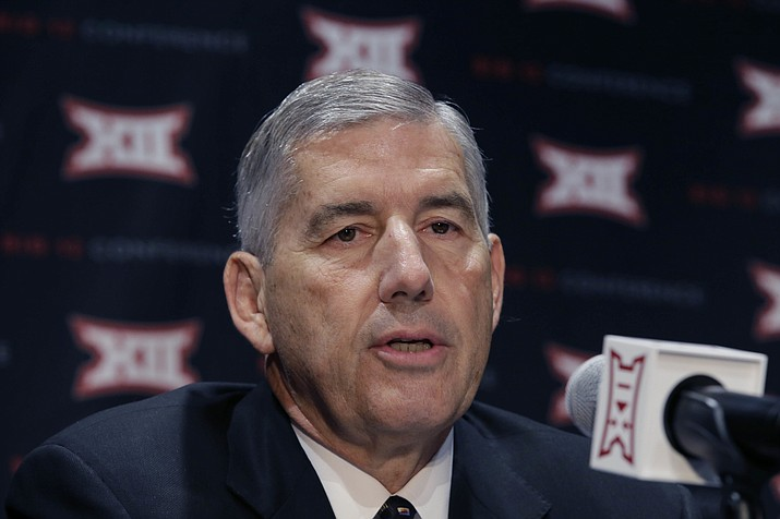 In this Oct. 17, 2016, file photo, Big 12 Commissioner Bob Bowlsby speaks to reporters after The Big 12 Conference meeting in Grapevine, Texas. When the Big 12 kicks off its football media days on Monday, July 17, 2017, commissioner Bob Bowlsby will be able to tout a winning record in bowl games last season and the still-growing revenue for the league's 10 schools. What the league really needs this season is to get a team into the College Football Playoff. (LM Otero/AP)
