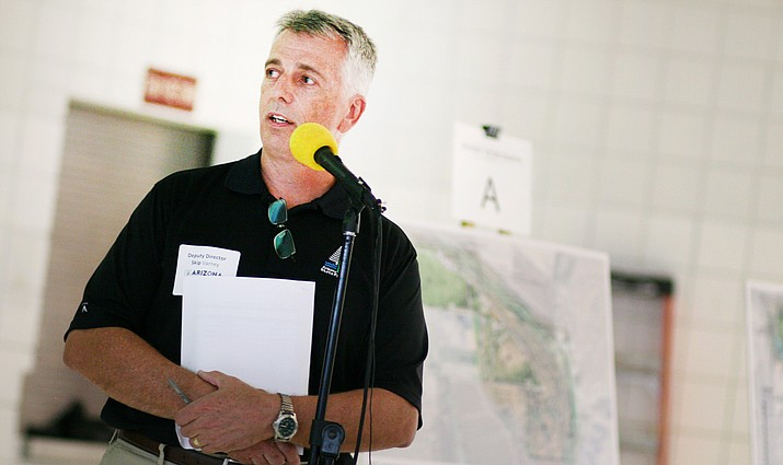 Skip Varney, deputy director of Operations and Development for Arizona State Parks and Trails, discusses preliminary plans for Rockin' River Ranch State Park, on Salt Mine Road. (Photo by Bill Helm)