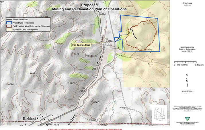 The proposed mine, a small-to-midsized quarry-type operation, will encompass 76 of the 164 acres of public lands. According to Kirkland Mining Company officials, no blasting or use of chemical processing will take place on the property.
