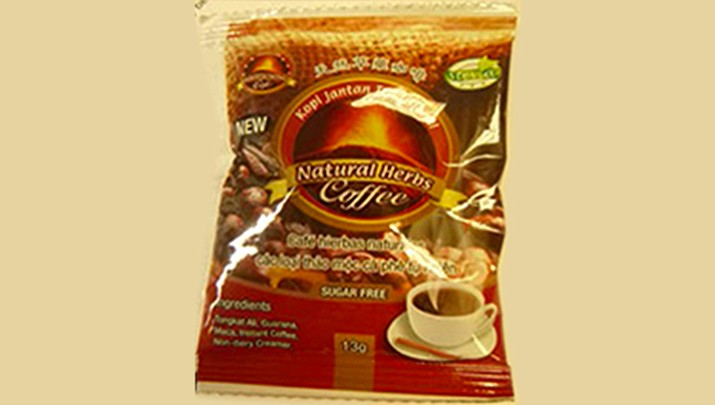 The Viagra-like coffee was sold nationwide from July 2014 through June 2016 on various websites and in some retail stores.