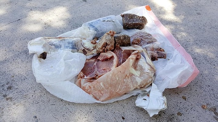 This photo provided by Austin Adair taken Saturday, July 15, 2017, shows a 15-pound bag of frozen pork that fell from the sky onto the home of Travis Adair in Fort Lauderdale, Fla. The home is near three airports, so Adair thinks it fell from a plane. (Austin Adair via AP)