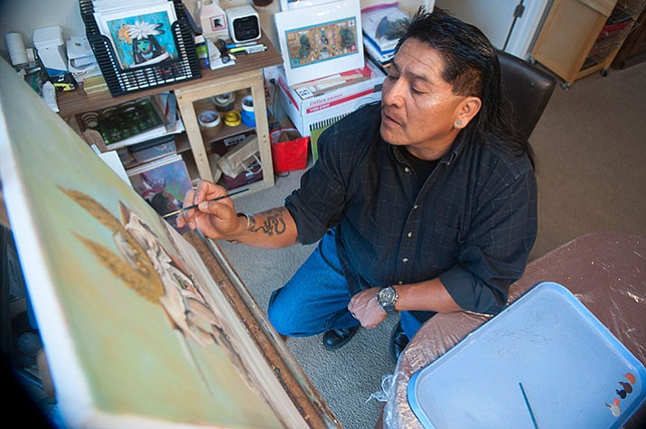 Local Prescott artist Filmer Kewanyama recently won a prestigious award in New York City for his artwork. (Les Stukenberg/Courier)