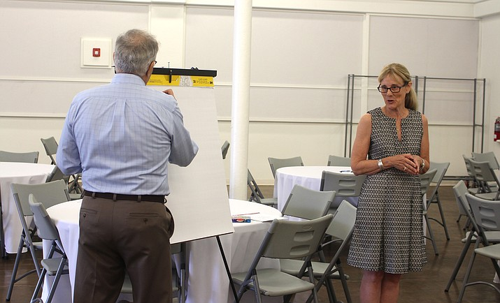 Lani Lott, right, and Jim McPherson lead one of three Main Street Arizona Town Hall workshops Thursday at Beale Celebrations.