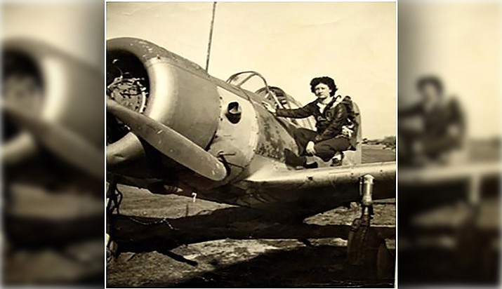 Irene Leverton on the wing of a Vultee BT-13 Valiant in her younger years. (Courtesy)