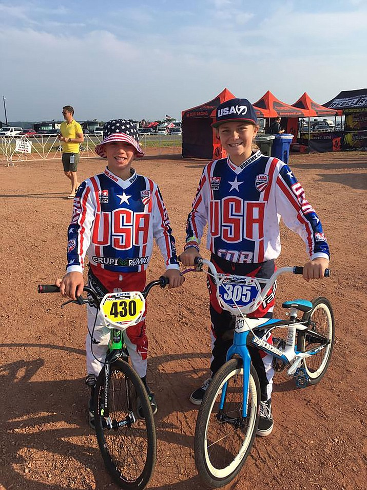 Kingman's Josh White, left, and Samantha Ogborn are competing today in the 2017 BMX World Championships in Rock Hill, South Carolina.