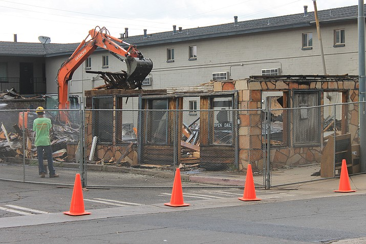 The historic Old Smoky's restaurant on Route 66 and Sixth Streets came down July 18.