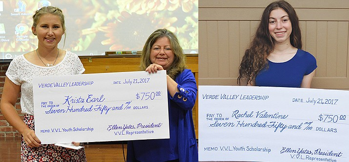 "During Friday's Verde Valley Leadership Class XI graduation ceremonies at the Verde Valley Senior Center, two local young women were honored with the ""Patty May Open Your Heart to Youth Scholarships"" for their leadership in Verde Valley communities. Receiving the $750 scholarships were Krista Earl, left, with 2016-17 Past president Kathy Wombacher, and (right) Rachel Valentine. (VVN/Dan Engler and courtesy of Verde Valley Leadership)"