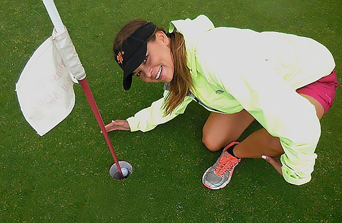 Lela Schober made a hole-in-one July 16 at Elephant Rocks Golf Course.