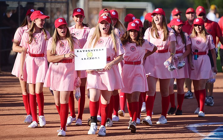 Featuring throwback Rockford Peaches uniforms, the Arizona Batbusters are introduced at opening ceremonies for the 2017 NSA Southwest World Series at Pioneer Park on Wednesday, July 26, 2017, in Prescott. (Les Stukenberg/Courier)