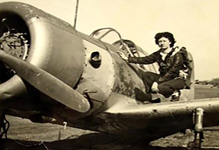 Irene Leverton sits on the wing of a Vultee BT-13 Valiant in her younger years. (Courtesy Photo)