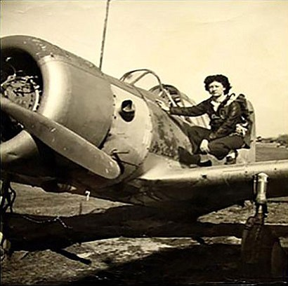 Irene Leverton on the wing of a Vultee BT-13 Valiant in her younger years.