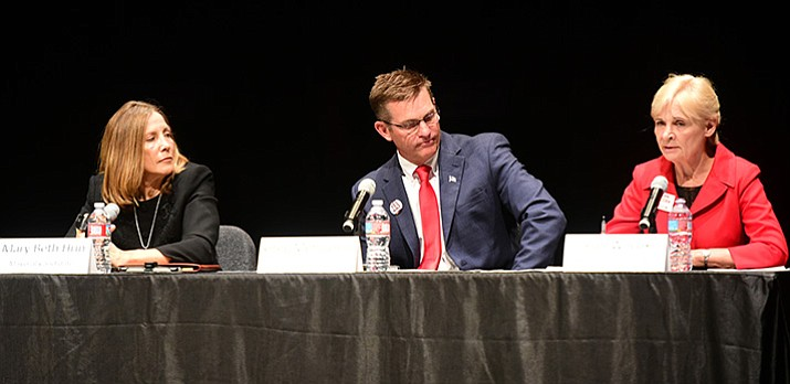 Mayoral candidates, from left, Mary Beth Hrin, Greg Mengarelli and Jean Wilcox during the Prescott Mayor and City Council Candidate Forum at the Yavapai College Performance Hall Thursday, July 27, in Prescott. (Les Stukenberg/Courier)