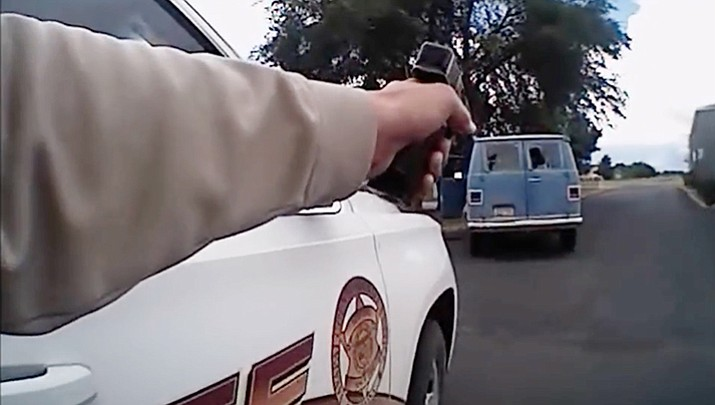 Screen grab from the body-cam video. (YCSO/Courtesy)