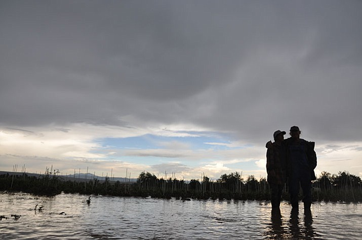 Cory and Shanti Rade, owners of Whipstone Farm, stand just outside their flooded crop field on Monday, July 17.