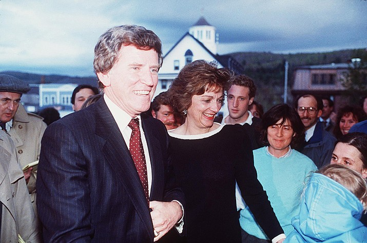 Gary Hart and his wife Lee in Littleton, N.H. on the night of May 06, 1987. This was the first time the two were seen together after the Donna Rice controversy. News of an affair derailed Hart's 1988 presidential campaign.(AP file photo/Toby Talbot)