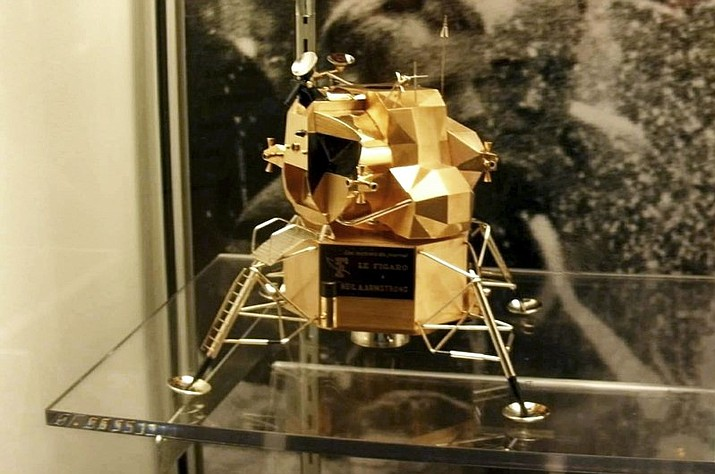 Police say the rare gold replica of the lunar space module has been stolen from the Armstrong Air and Space Museum in Wapakoneta, Ohio. Police responded to an alarm at the museum just before midnight Friday, July 28, 2017, and discovered the 5-inch high, solid-gold replica had been stolen. (Armstrong Air and Space Museum/Wapakoneta police department via AP)