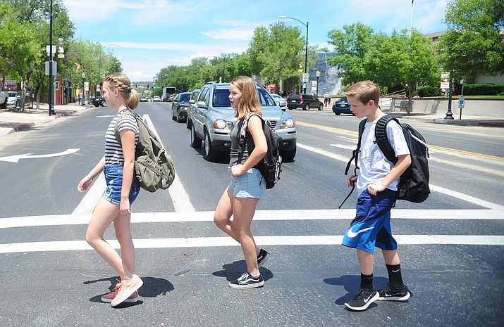 Prescott Unified and other schools begin their 2017-18 school year this week and next. As a reminder be on the look out early in the morning and afternoons as children head to school either by foot, bike or bus.  (Les Stukenberg/Courier)