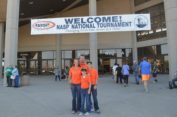 Aaron, Edie (coaches in the new archery after school program), Hunter and Adeline Hulburd at the National Archery in School Program national tournament.