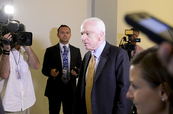 Sen. John McCain, R-Arizona, just hours after his early-morning vote helped kill the latest attempt by Republicans to repeal and replace Obamacare. (Photo by Ben Moffat/Cronkite News)