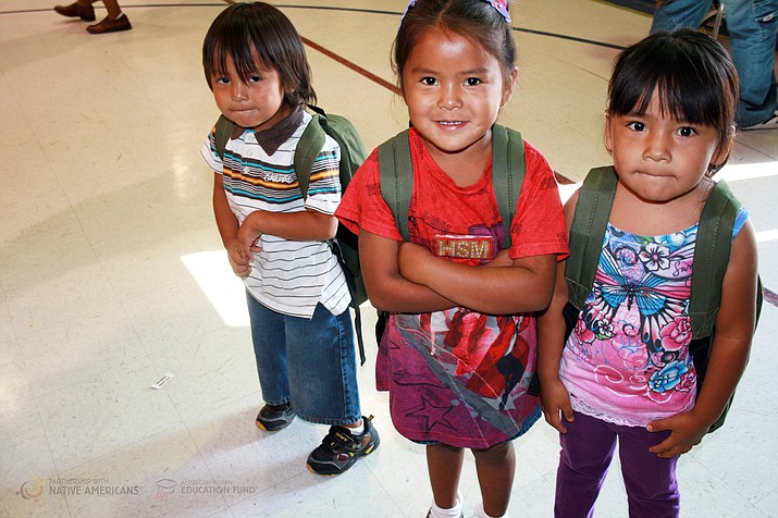 Native students enjoy looking through their new school supplies and carrying their new backpacks after a backpack drive. Submitted photo