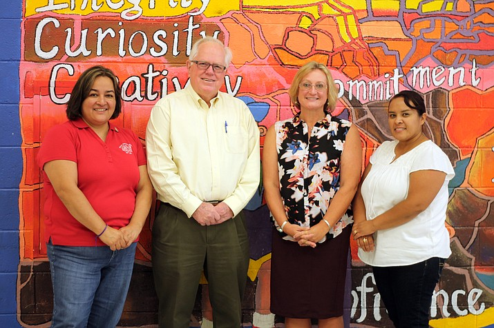Grand Canyon School Principal Tom Rowland, Assistant Principal Lori Rommel, administrative assistant Rosa Velazquez and health aide Alejandra Flores welcomed the new staff July 24.