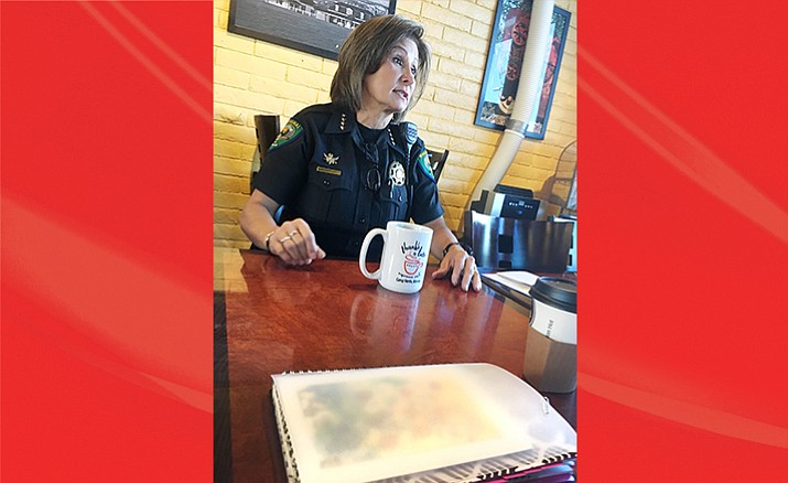 Camp Verde Marshal Nancy Gardner answers questions at the monthly Coffee with a Cop in Camp Verde. (Photo by Bill Helm)