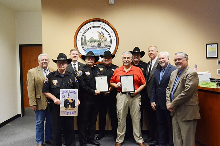 The Lonesome Valley Company of the modern Arizona Rangers receives a proclamation from the Yavapai County Board of Supervisors on Wednesday, Aug. 2. (David McAtee/Courtesy)