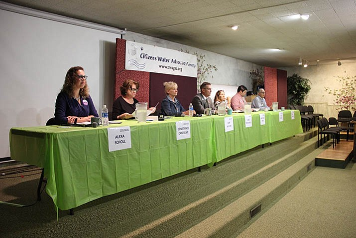 Four candidates running for Prescott City Council and three candidates running for Prescott Mayor were present for this year's Citizens Water Advocacy Group (CWAG) candidate forum Saturday. (Max Efrein/Courier)