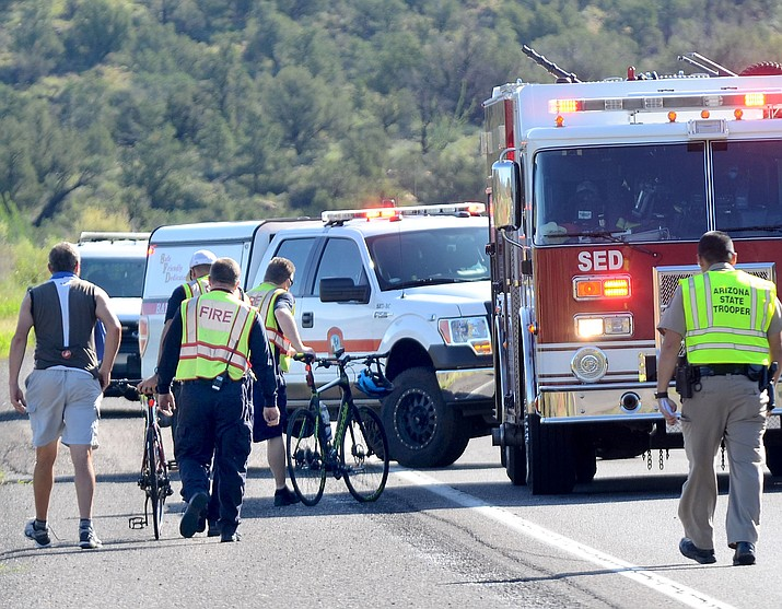 Around 8:24 a.m. Saturday, Sedona Fire District units from Station No. 1 responded to a report of a cyclist who sustained injuries after falling off her bike on SR 89A near Lower Red Rock Loop Road. (VVN/Vyto Starinskas)