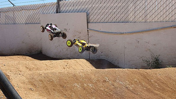 Phoenix's Camden Lime holds off Lake Havasu's Jamie Wilson during an RC race in May.