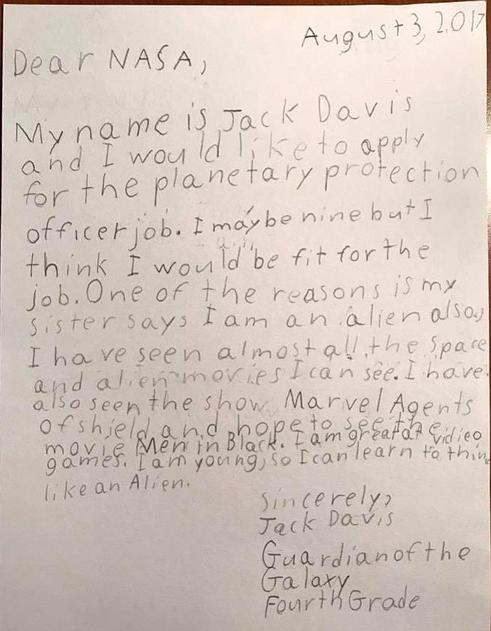 An inspired fourth grader reached out to NASA in a letter to express his interest in serving as the agency's Planetary Protection Officer. Nine-year-old Jack Davis received a letter and phone call reply from NASA.
