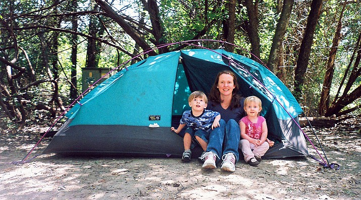 Sarah Beadle and her daughter, Laura, on a previous camping trip.  